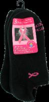 Russell Fashion Foot Women's Pink Ribbon Low-Cut Socks - 3 pk - Black - 4-10.5