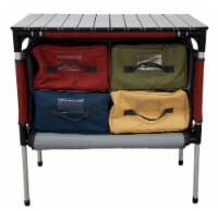 Camp Chef Sherpa Mountain Series Table with four storage compartments and retractable legs