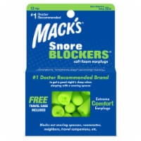 Mack's Snore Blockers Soft Foam Earplugs & Travel Case - Green