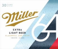 Miller64 Extra Light Lager Beer 30 Cans