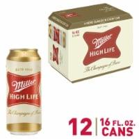 Miller High Life American Lager Beer - 12 cans / 16 fl oz