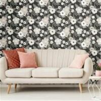 Roommates RMK11627RL Poppy Floral Peel & Stick Wallpaper, Black - 1