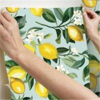Roommates RMK11656WP Lemon Zest Peel & Stick Wallpaper, Blue - 1