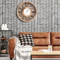 Roommates RMK11633WP Cat Coquillette Herringbone Peel & Stick Wallpaper, Black - 1