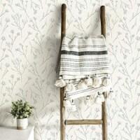 RoomMates RMK11677WP Twigs Peel & Stick Wallpaper - White & Grey - 1