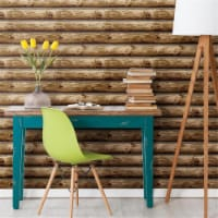 RoomMates RMK11308WP 20.5 in. x 16.5 ft. Cabin Logs Peel & Stick Wallpaper - 1