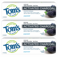 Tom's of Maine Peppermint Activated Charcoal Anticavity Toothpaste 3 Count
