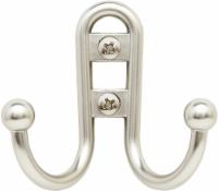 Bulldog Double Prong Robe Hook - Satin Nickel