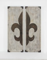 Traditional Set of Wood Wall Plaques with Metal Fleur-de-lis Pattern - 1