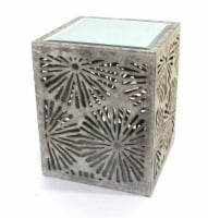 Rustic Floral Wooden Mirror End Table/Tea Table - 1
