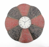 Traditional Black & Red Floral Metal Wall Clock - 1