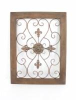 Traditional Wooden Framed Fleur-de-lis Wall Decor - 1