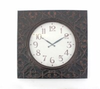 Vintage Square Brass Metal Wall Clock - 1