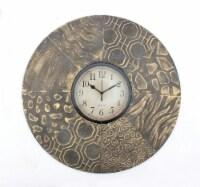 Vintage Bronze Round Metal Wall Clock - 1