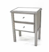 Coastal 2-Drawer Mirrored End Table - 1