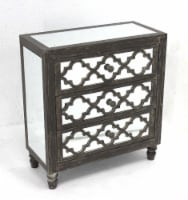 Antique Mirrored Wooden Cabinet with 3 Drawers - 1