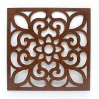 Vintage Floral Wooden Wall Sculpture - 1