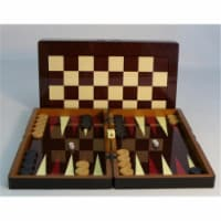 Worldwise Imports 26207C 15 in. Simple wood Grain with Chess Board - Decoupage Wood Backgammo - 1
