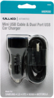 Allied Mini USB Cable and Dual Port USB Car Charger