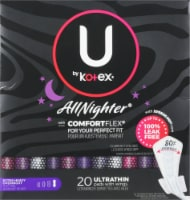 U by Kotex AllNighter Ultra Thin Extra Heavy Overnight Unscented Pads with Wings - 20 ct