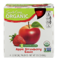 Santa Cruz Organic Strawberry Apple Sauce Pouches 4 Count