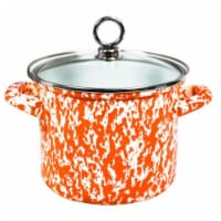 Reston Lloyd 1.5 qt Stock Pot with Glass Lid, Orange Marble