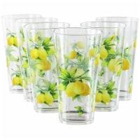 Reston Lloyd 75419 19 oz Acrylic Drinkware Ice Tea Glass, Fresh Lemons - Set of 6