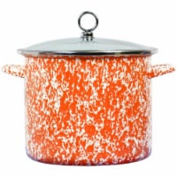 Reston Lloyd 8 qt Calypso Basics Stock Pot with Glass Lid, Orange Marble
