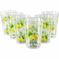 Reston Lloyd 95149 8 oz Acrylic Drinkware Juice Glass, Fresh Lemons - Set of 6