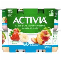 Activia Strawberry Banana & Peach Nonfat Probiotic Yogurt 12 Count