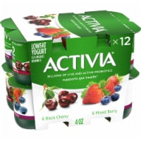 Activia Mixed Berry & Black Cherry Lowfat Probiotic Yogurt Variety Pack 12 Count