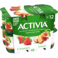 Activia Strawberry & Peach Lowfat Yogurt Variety Pack 12 Count