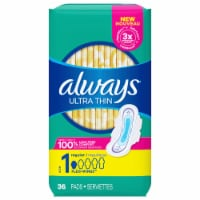 Always Ultra Thin Size 1 Regular Pads with Wings 36 Count