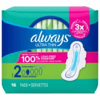Always® Ultra Thin Size 2 Long Super Pads with Flexi-Wings - 16 ct