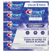 Crest 3D White Ultra Whitening Toothpaste, Vivid Mint, (5.6 Ounce, 5 Pack) - 1 unit