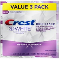 Crest 3D White Brilliance Vibrant Peppermint Toothpaste Value Pack