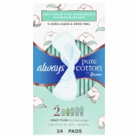 Always Pure Cotton FlexFoam Size 2 Heavy Flow Pads with Wings