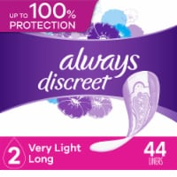 Always Discreet Very Light Long Length Incontinence Liners 44 Count