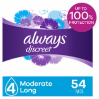 Always Discreet Incontinence Pads for Women Moderate Absorbency Long Length