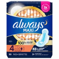 Always Maxi Size 4 Overnight Absorbency Unscented Pads with Wings