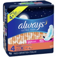 Always Ultra Thin Size 4 Overnight Pads with Wings