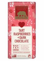 Endgngered Species Tart Raspberries + Dark Chocolate 72% Cocoa Valentines Bar