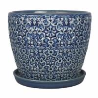 Trendspot 5.04 in. H x 6 in. Dia. Ceramic Mediterranean Bell Planter Pot Blue - Case Of: 4; - Case of: 4