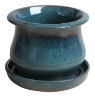 Trendspot 6 in. H x 6 in. W Ceramic Low Bell Planter Aqua Blue - Case Of: 4;