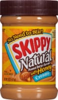Skippy Natural Creamy Peanut Butter Spread with Honey - 15 oz