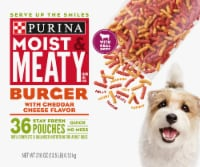 Moist & Meaty Burger with Cheddar Cheese Flavor Dry Dog Food Stay Fresh Pouches