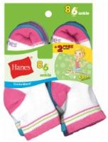 Hanes Large Girls Ankle Socks - White