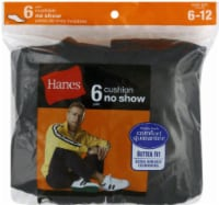 Hanes Men's Cushion No-Show Socks - 6 pk - Black