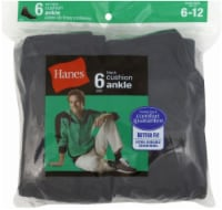 Hanes Men's Cushion Ankle Socks - 6 pk - Black