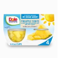 Dole No Sugar Added Pineapple Tidbits Cups 4 Count